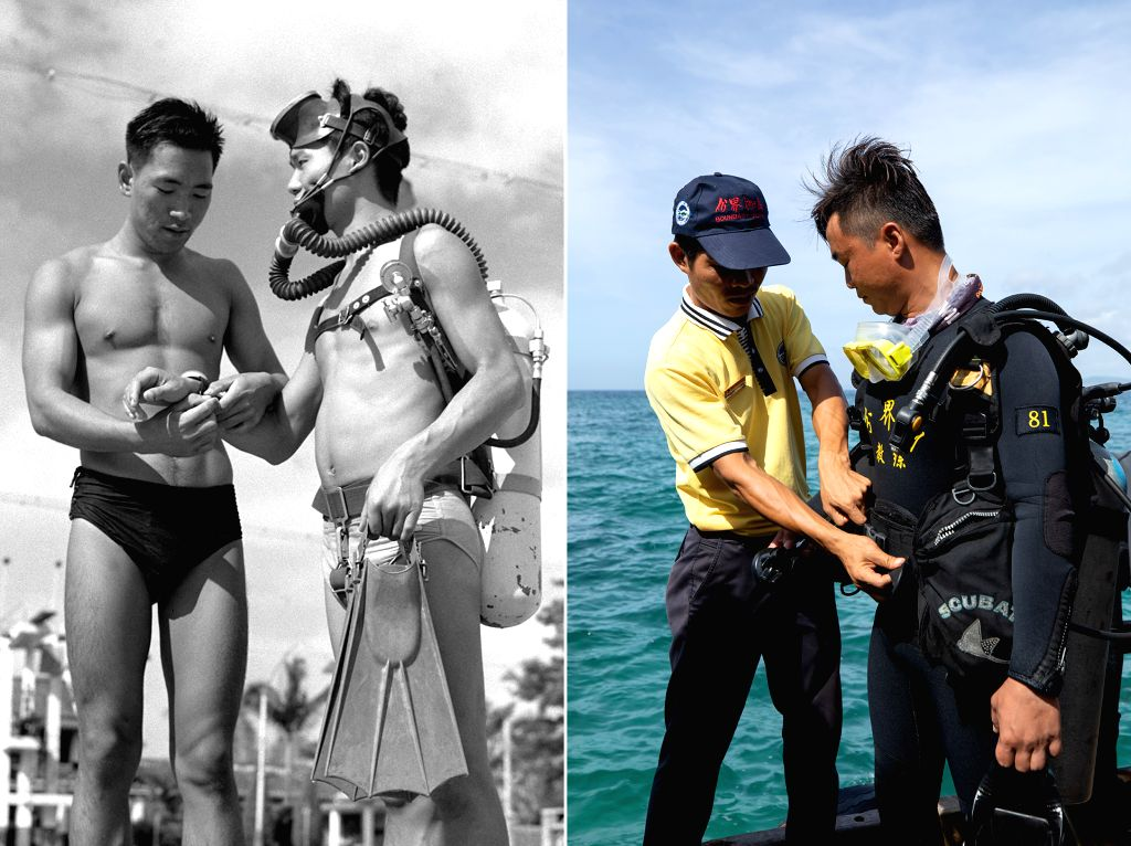 BEIJING, Sept. 22, 2019 - Left: File photo taken in 1961 by Wang Nan shows a trainer equipping a diver with a compass before diving in Guangzhou, south China's Guangdong Province. Right: Photo taken ...