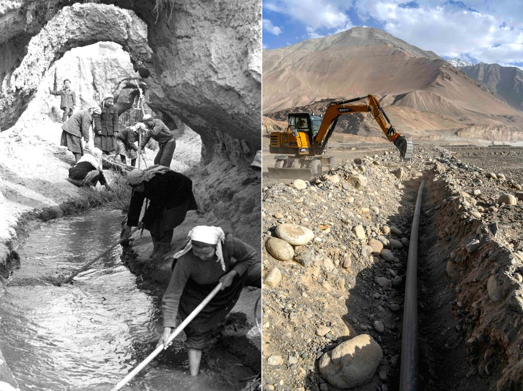 BEIJING, Sept. 22, 2019 - Left: File photo taken in 1963 by Wu Chunzhan shows people maintaining a karez well, or subterranean canals, in Turpan, northwest China's Xinjiang Uygur Autonomous Region. ...