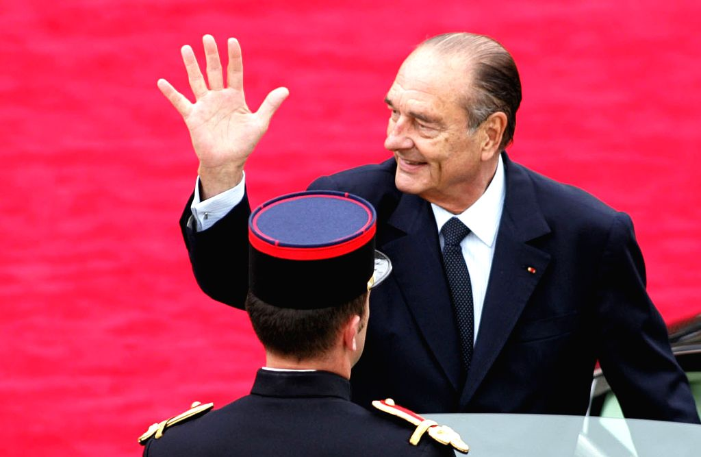 BEIJING, Sept. 26, 2019 - File photo taken on May 16, 2007 shows Jacques Chirac waving to people as he leaves the Elysee Palace in Paris, France. France's former President Jacques Chirac died on ...