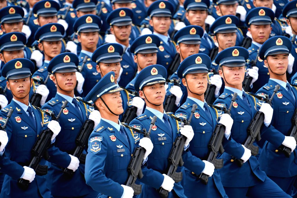 BEIJING, Sept. 27, 2019 - Chinese soldiers take part in parade training for the upcoming National Day celebrations in Beijing, capital of China, Sept. 11, 2019. Participants are busy preparing for ...