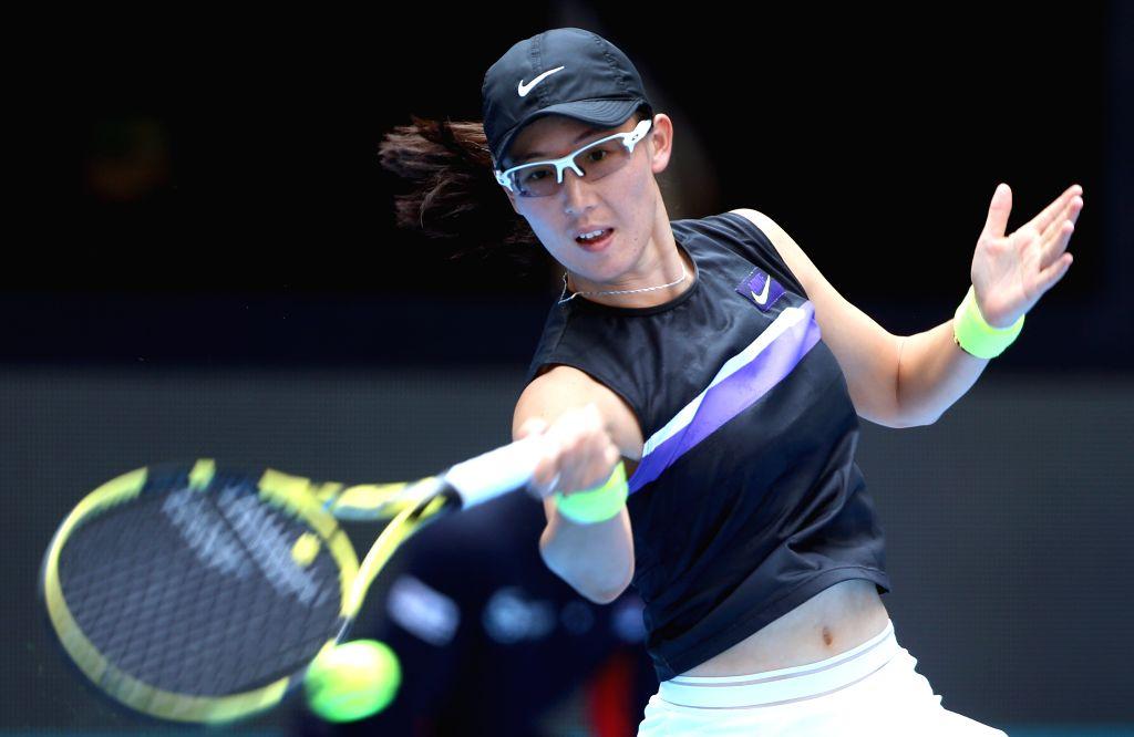 BEIJING, Sept. 28, 2019 - Zheng Saisai of China returns the ball during the women's singles first round between Zheng Saisai of China and Monica Puig of Puerto Rico at 2019 China Open tennis ...