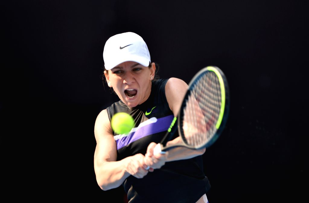 BEIJING, Sept. 29, 2019 - Simona Halep of Romania returns a shot after the women's singles first round match between Simona Halep of Romania and Rebecca Peterson of Sweden at the 2019 China Open ...