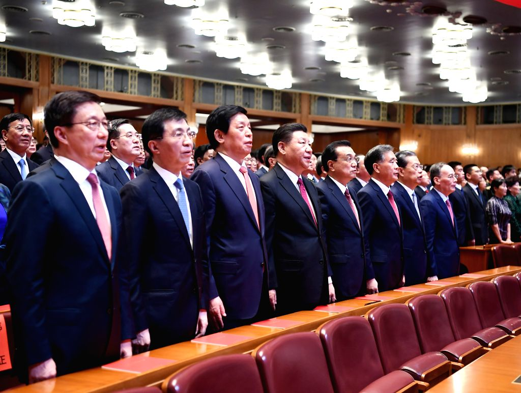 BEIJING, Sept. 29, 2019 - Xi Jinping, Li Keqiang, Li Zhanshu, Wang Yang, Wang Huning, Zhao Leji, Han Zheng and Wang Qishan join over 4,000 people to watch a high-profile art performance, named ...