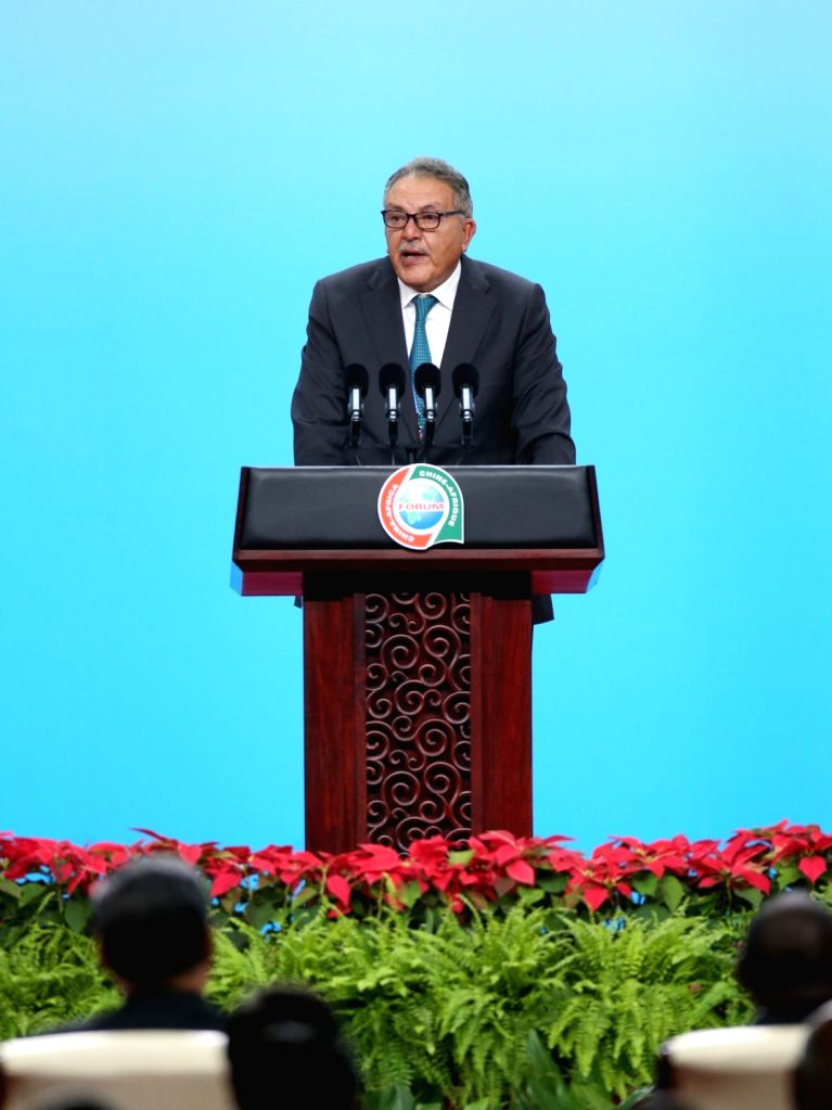 BEIJING, Sept. 3, 2018 - Ahmed El Wakil, chairman of the Union of African Chambers of Commerce, Industry, Agriculture, and Professions (UACCIAP), delivers a speech at the opening ceremony of the ...