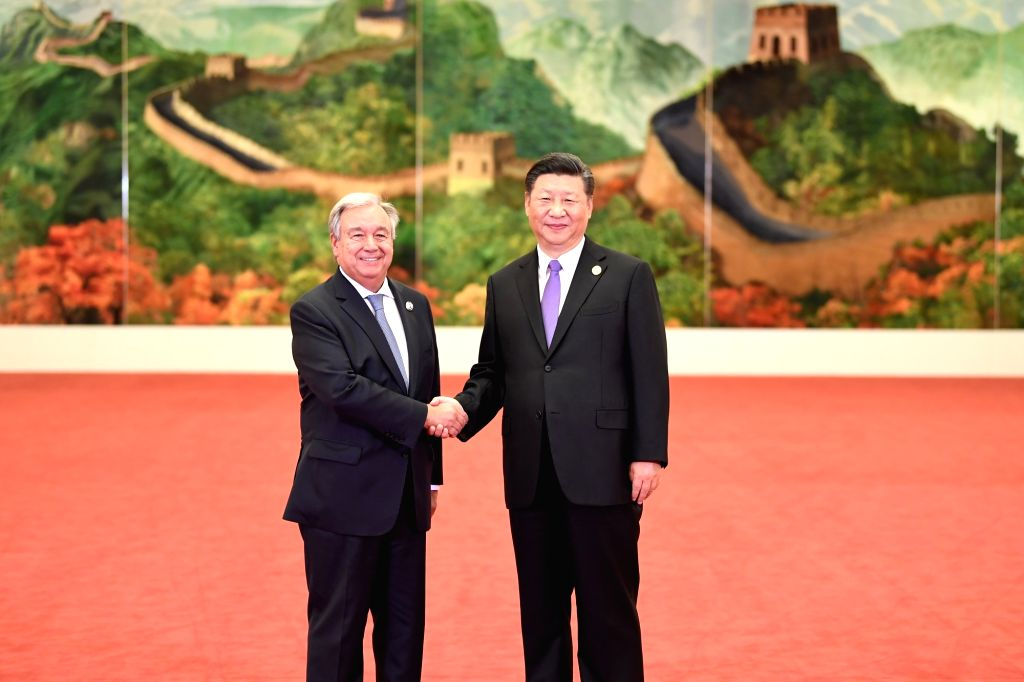 BEIJING, Sept. 3, 2018 - Chinese President Xi Jinping (R) welcomes UN Secretary-General Antonio Guterres, who is here to attend the 2018 Beijing Summit of the Forum on China-Africa Cooperation ...