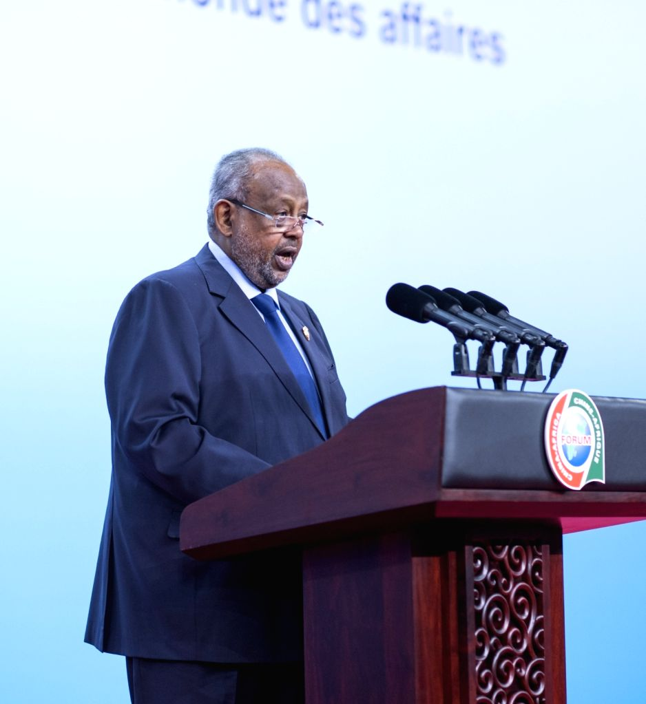 BEIJING, Sept. 3, 2018 - Djibouti President Ismail Omar Guelleh delivers a speech at the opening ceremony of the High-level Dialogue Between Chinese and African ers and Business Representatives ...