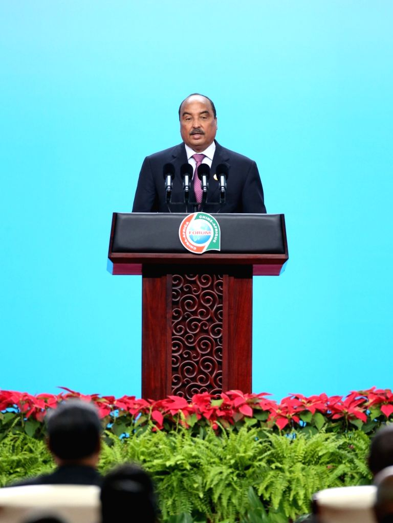 BEIJING, Sept. 3, 2018 - Mauritanian President Mohamed Ould Abdel Aziz delivers a speech at the opening ceremony of the High-level Dialogue Between Chinese and African ers and Business ...
