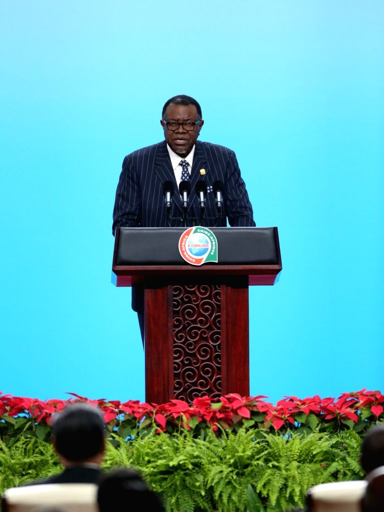 BEIJING, Sept. 3, 2018 - President of Namibia Hage Geingob delivers a speech at the opening ceremony of the High-level Dialogue Between Chinese and African ers and Business Representatives as ...