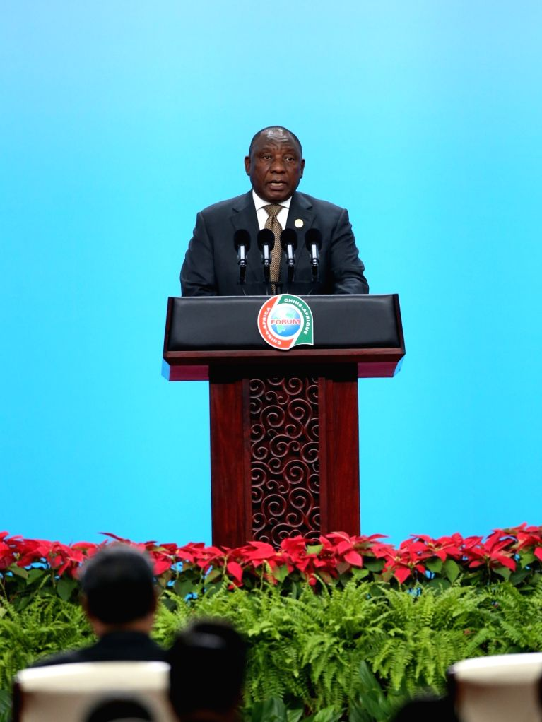 BEIJING, Sept. 3, 2018 - South African President Cyril Ramaphosa delivers a speech at the opening ceremony of the High-level Dialogue Between Chinese and African ers and Business Representatives ...