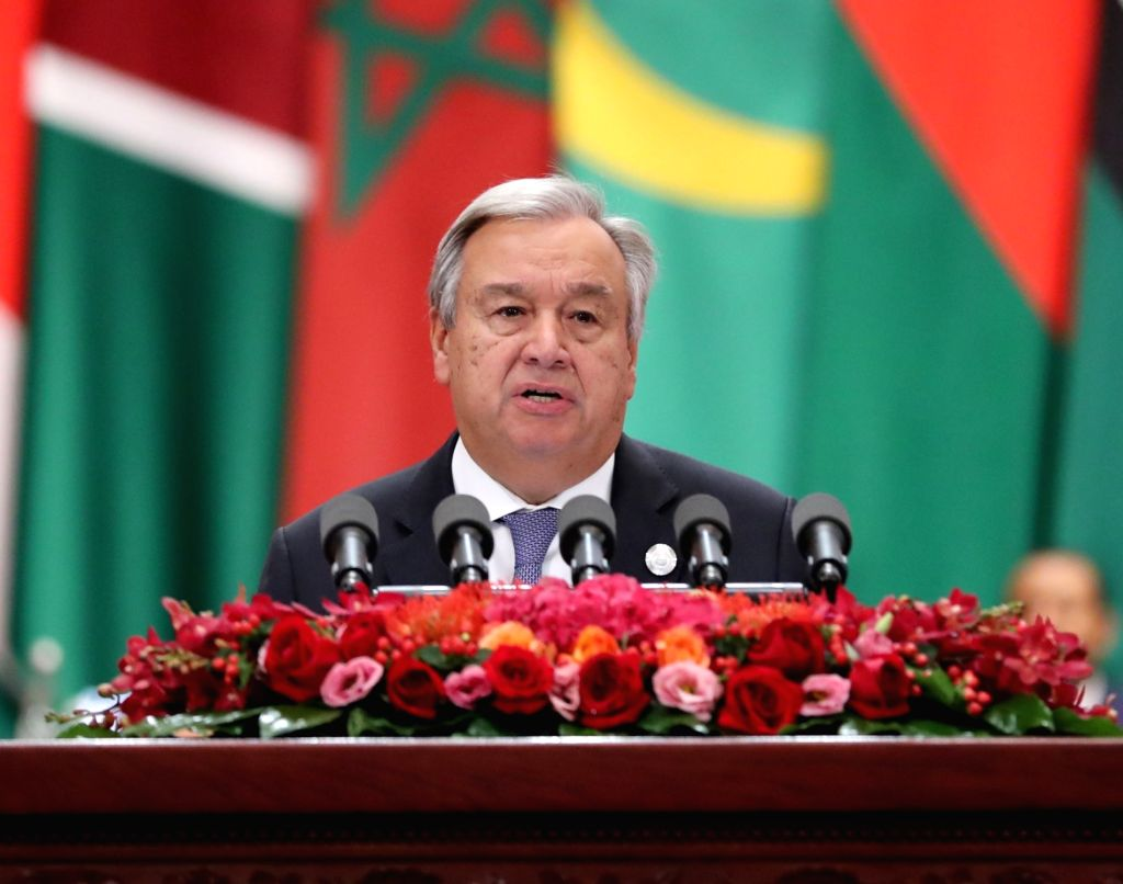 BEIJING, Sept. 3, 2018 - UN Secretary-General Antonio Guterres addresses the opening ceremony of the Beijing Summit of the Forum on China-Africa Cooperation (FOCAC) as special guest of the summit at ...