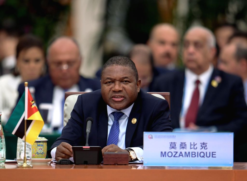 BEIJING, Sept. 4, 2018 - Mozambican President Filipe Nyusi attends the roundtable meeting of the 2018 Beijing Summit of the Forum on China-Africa Cooperation (FOCAC) at the Great Hall of the People ...