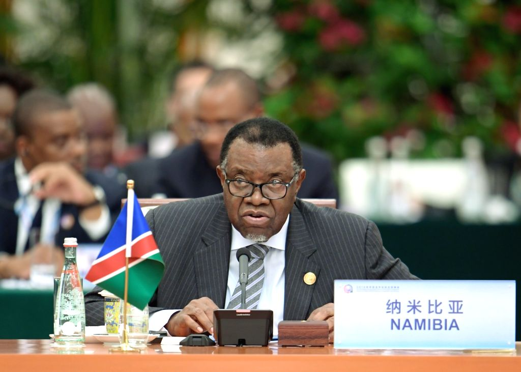 BEIJING, Sept. 4, 2018 - Namibian President Hage Geingob attends the roundtable meeting of the 2018 Beijing Summit of the Forum on China-Africa Cooperation (FOCAC) at the Great Hall of the People in ...