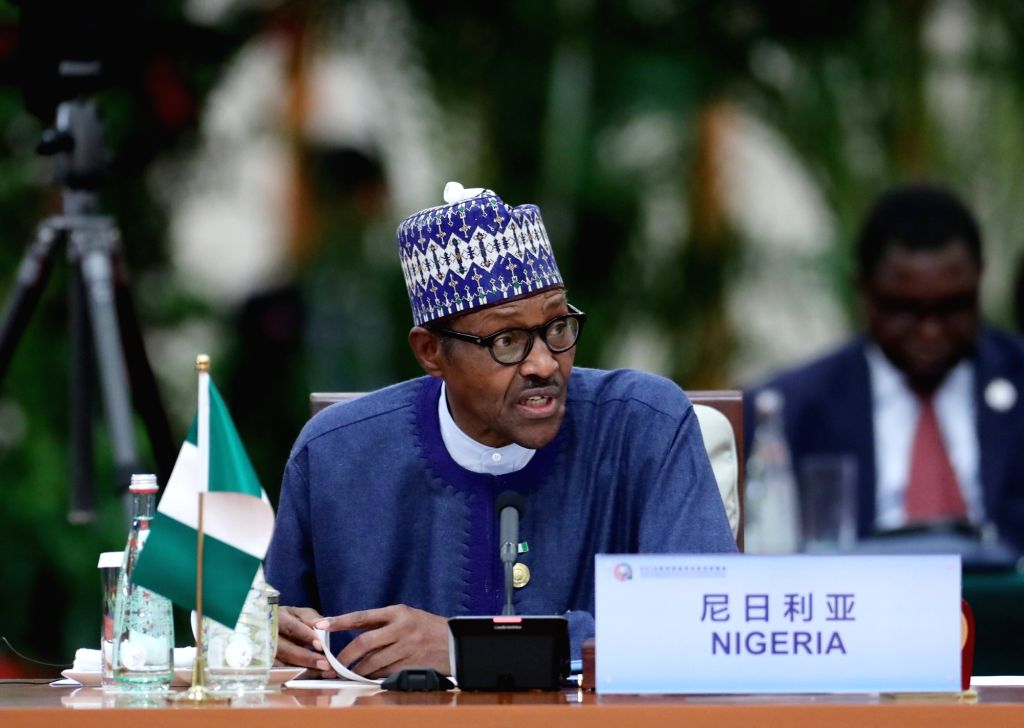 BEIJING, Sept. 4, 2018 - Nigerian President Muhammadu Buhari attends the roundtable meeting of the 2018 Beijing Summit of the Forum on China-Africa Cooperation (FOCAC) at the Great Hall of the People ...