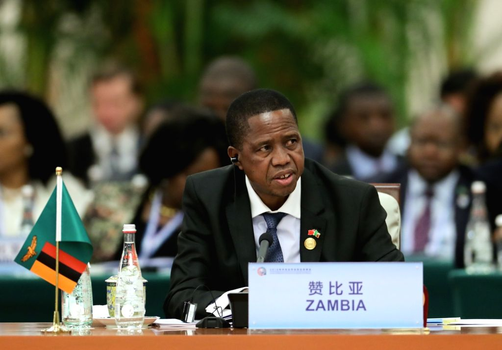 BEIJING, Sept. 4, 2018 - Zambian President Edgar Lungu attends the roundtable meeting of the 2018 Beijing Summit of the Forum on China-Africa Cooperation (FOCAC) at the Great Hall of the People in ...