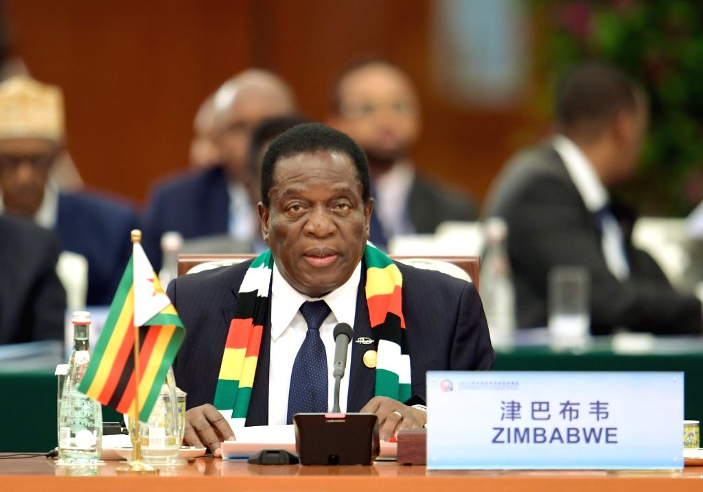 BEIJING, Sept. 4, 2018 - Zimbabwean President Emmerson Mnangagwa attends the roundtable meeting of the 2018 Beijing Summit of the Forum on China-Africa Cooperation (FOCAC) at the Great Hall of the ...