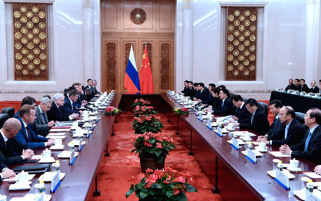 BEIJING, Sept. 6, 2019 - Chinese Vice Premier Han Zheng, also a member of the Standing Committee of the Political Bureau of the Communist Party of China Central Committee, meets with Russian Deputy ... - Dmitry Kozak