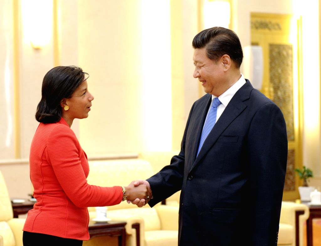 Chinese President Xi Jinping (R) meets with U.S. President Barack Obama's National Security Advisor Susan Rice in Beijing, capital of China, Sept. 9, 2014.   ...