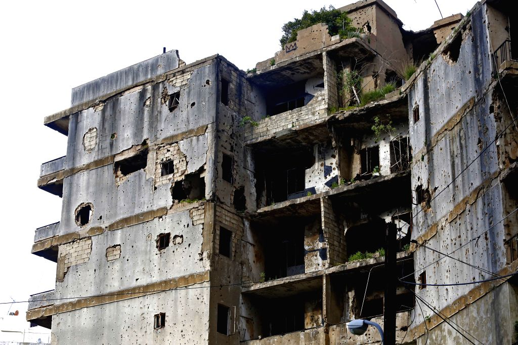 BEIRUT, April 12, 2019 - A destroyed building is seen in Beirut, Lebanon on March 28, 2019. April 13 marks the 44th anniversary of the outbreak of Lebanon's civil war (1975-1990). But after 29 years ...