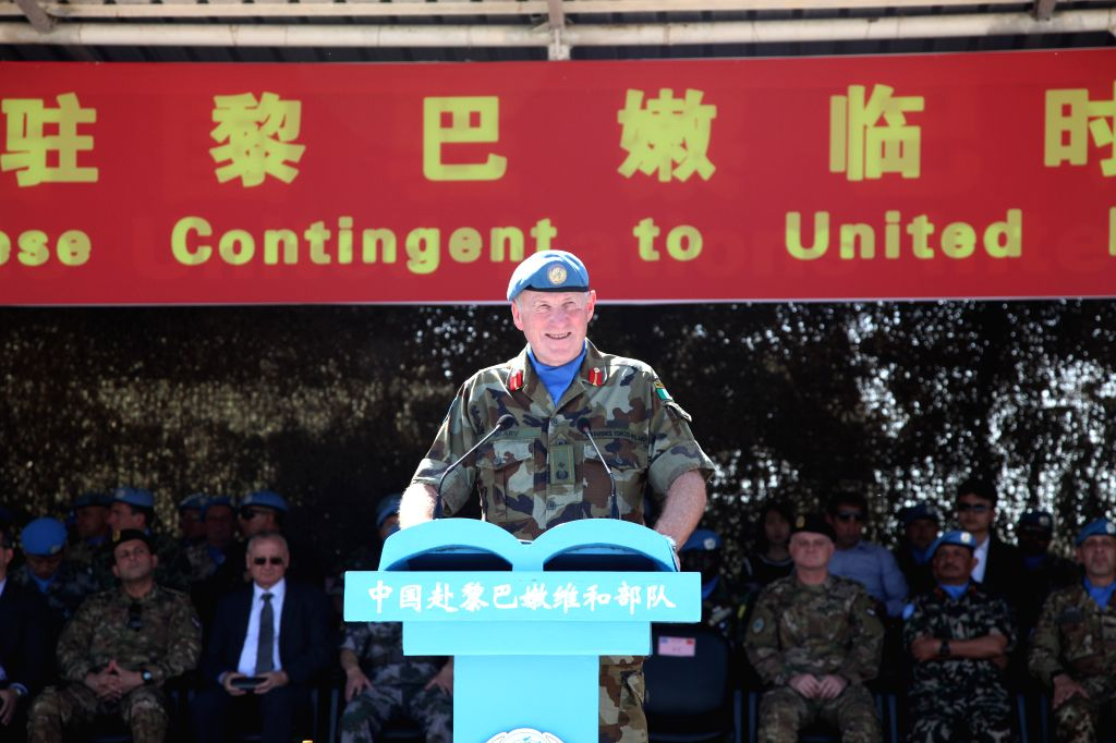 BEIRUT, April 6, 2018 - Maj. Gen. Michael Beary, head of Mission and Force Commander of the United Nations Interim Force in Lebanon (UNIFIL), delivers a speech at the medal-awarding ceremony at the ...