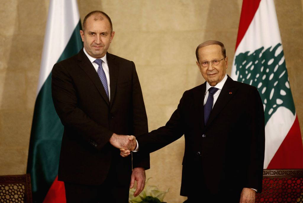 BEIRUT, April 9, 2019 - Lebanese President Michel Aoun (R) shakes hands with Bulgarian President Rumen Radev at the Presidential Palace in Baabda, Lebanon, on April 9, 2019. Lebanese President Michel ...