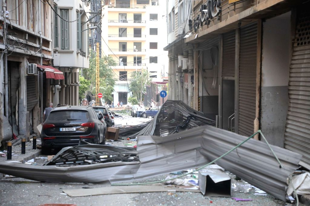 Beirut, Aug. 4, 2020 (Xinhua) -- Photo taken on Aug. 4, 2020 shows a scene after the explosion in Beirut, Lebanon. Two huge explosions rocked Lebanese capital Beirut on Tuesday, leaving at least 50 people killed and 2,500 others injured. The number o