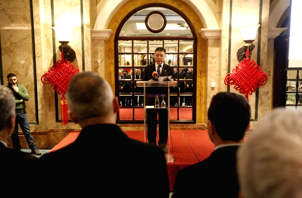 BEIRUT, Dec. 13, 2019 - Chinese Ambassador to Lebanon Wang Kejian speaks during a reception in Beirut, Lebanon, on Dec. 13, 2019. The Chinese embassy in Lebanon held a reception on Friday for the ...
