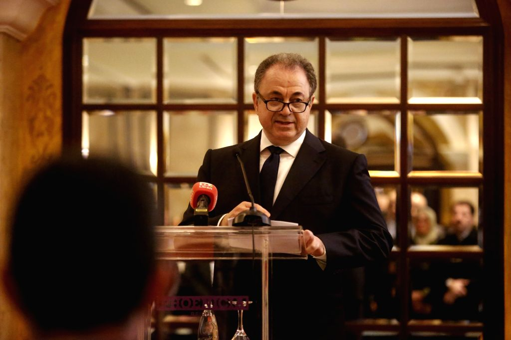 BEIRUT, Dec. 13, 2019 - Wassim Audi, former board member of Investment Development Authority of Lebanon, speaks during a reception in Beirut, Lebanon, on Dec. 13, 2019. The Chinese embassy in Lebanon ...