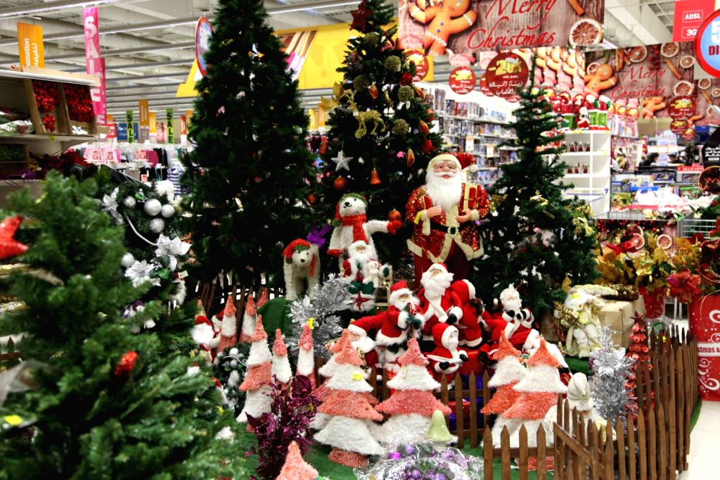 Christmas decorations are seen at a supermarket in Beirut, Lebanon, Dec. 20, 2013.