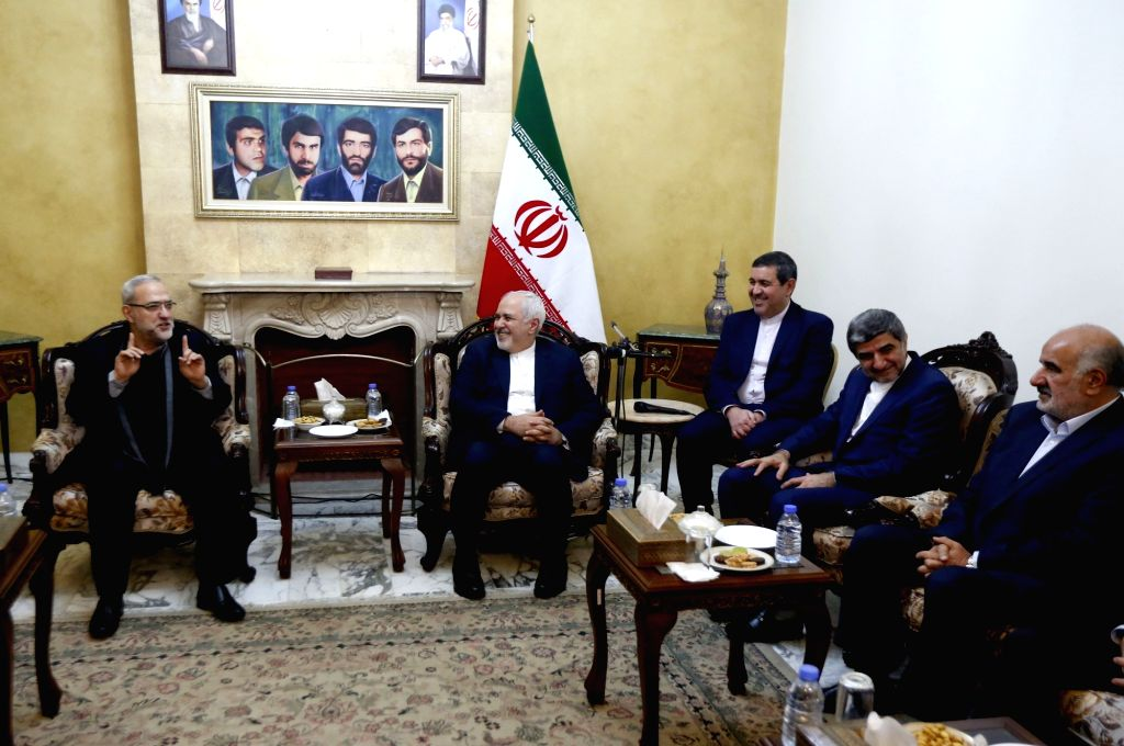 BEIRUT, Feb. 10, 2019 - Iranian Foreign Minister Mohammad Javad Zarif (2nd L) meets with Lebanese officials in the Iranian Embassy in Beirut, Lebanon, on Feb. 10, 2019. Zarif arrived in Lebanon on ... - Mohammad Javad Zarif