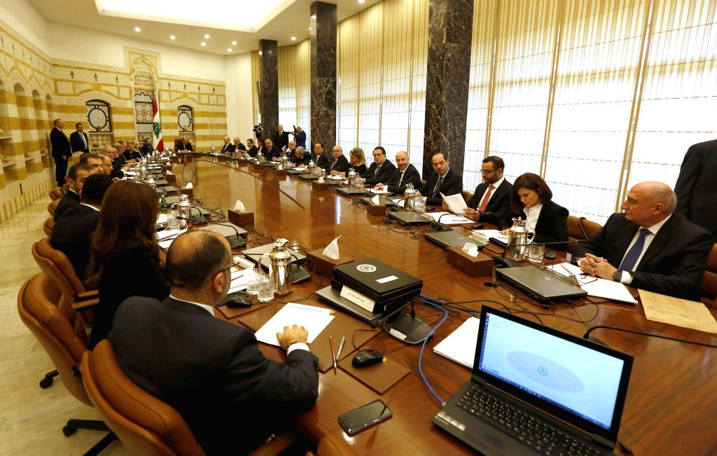 BEIRUT, Feb. 2, 2019 - Photo taken on Feb. 2, 2019 shows the Lebanese new government's first cabinet meeting in Beirut, capital of Lebanon.