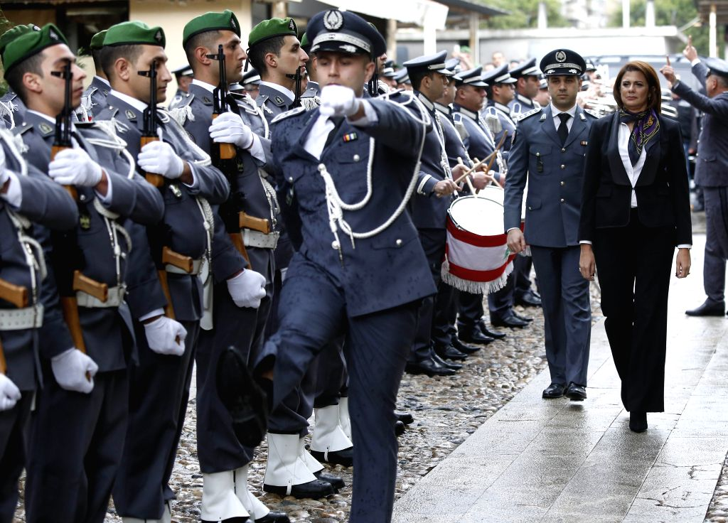 BEIRUT, Feb. 6, 2019 - Newly appointed Interior Minister Raya El Hassan reviews honor guards during a ceremony at the interior ministry in Beirut, Lebanon, Feb. 6, 2019. Raya El Hassan took her ... - Raya E