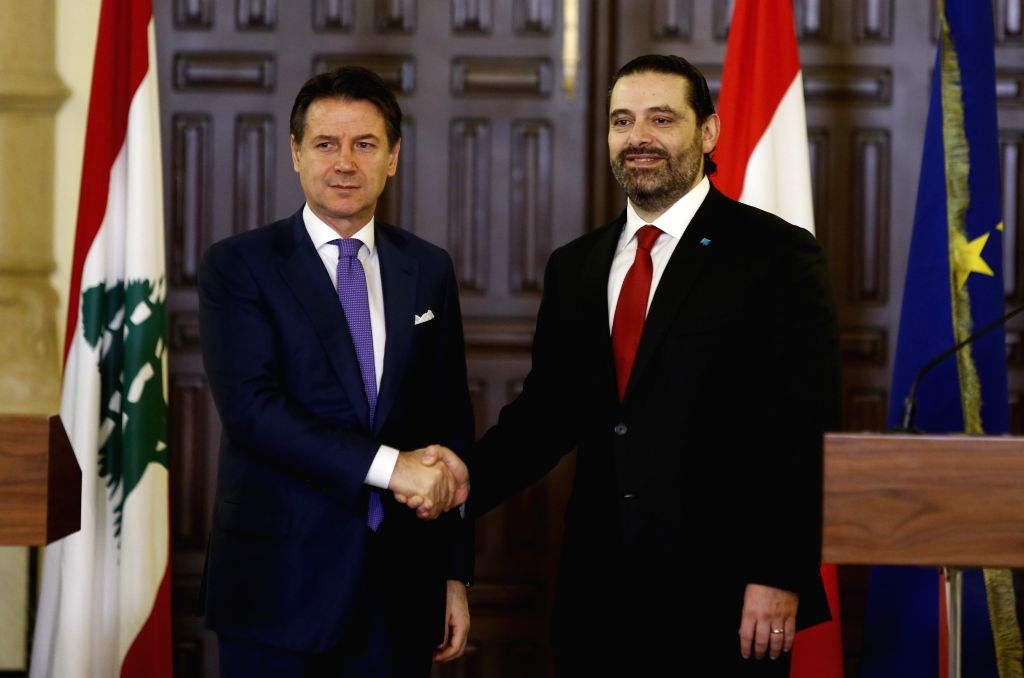 BEIRUT, Feb. 7, 2019 - Lebanese Prime Minister Saad Hariri (R) shakes hands with Italian Prime Minister Giuseppe Conte in Beirut, Lebanon, Feb. 7, 2019. - Saad Hariri
