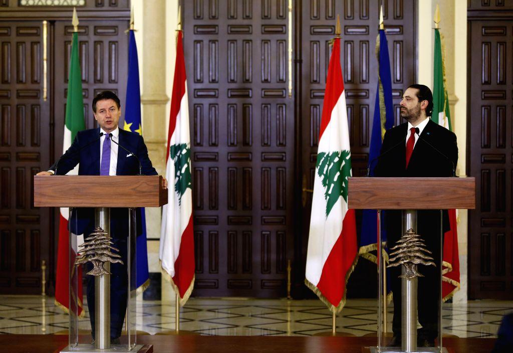 BEIRUT, Feb. 7, 2019 - Lebanese Prime Minister Saad Hariri (R) and Italian Prime Minister Giuseppe Conte attend a press conference in Beirut, Lebanon, Feb. 7, 2019. - Saad Hariri
