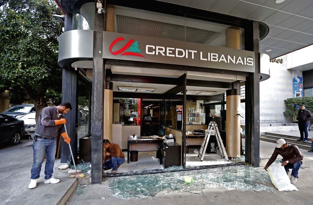 BEIRUT, Jan. 15, 2020 (Xinhua) -- A bank's windows are smashed by protesters in Beirut, Lebanon, on Jan. 15, 2020. Around 47 Lebanese army members were injured in clashes with protesters on Tuesday evening near the Central Bank of Lebanon in Hamra in