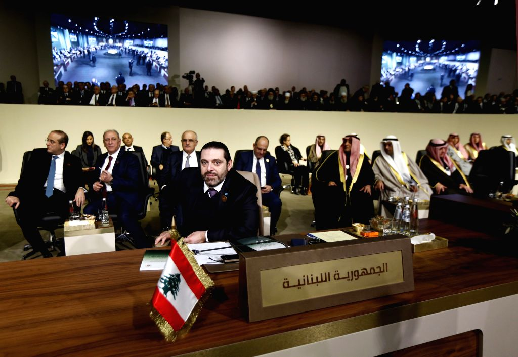 BEIRUT, Jan. 20, 2019 - Lebanese Prime Minister-designate Saad Hariri (front) attends the fourth Arab Economic and Social Development Summit in Beirut, Lebanon, Jan. 20, 2019. The fourth Arab ...