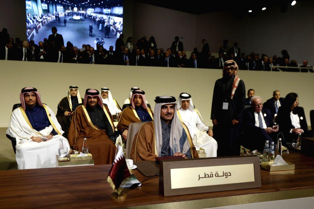 BEIRUT, Jan. 20, 2019 - Qatari Emir Sheikh Tamim bin Hamad Al Thani (C) attends the fourth Arab Economic and Social Development Summit in Beirut, Lebanon, Jan. 20, 2019. The fourth Arab Economic and ... - Emir Sheikh Tamim