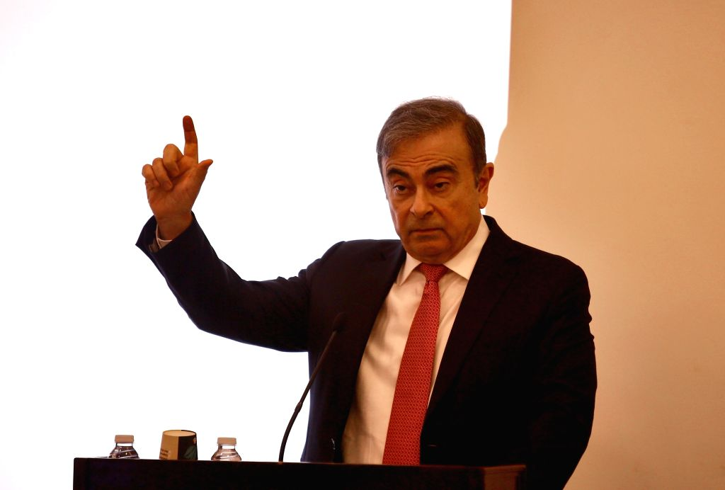 BEIRUT, Jan. 8, 2020 (Xinhua) -- Former Nissan chief Carlos Ghosn speaks at a press conference in Beirut, Lebanon, Jan. 8, 2020. Carlos Ghosn denied on Wednesday all accusations brought against him by Nissan, adding that he will fight until the end t