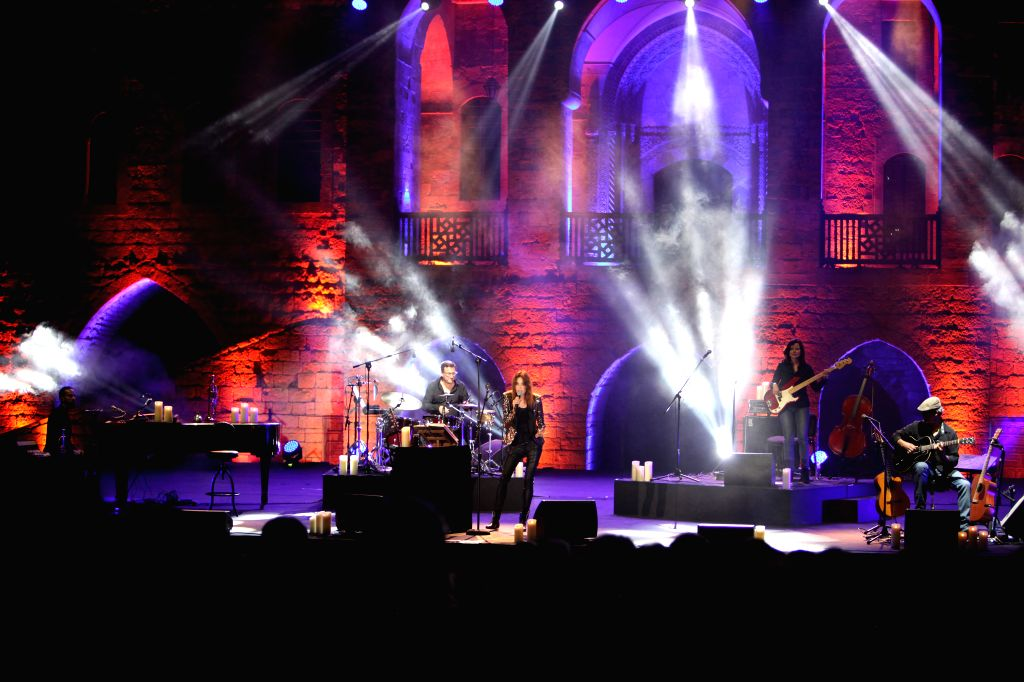BEIRUT, July 30, 2018 - Singer Carla Bruni-Sarkozy (C), the former French First Lady, performs at the Beiteddine Art Festival near Beirut, Lebanon, on July 30, 2018. Carla Bruni-Sarkozy performed her ...