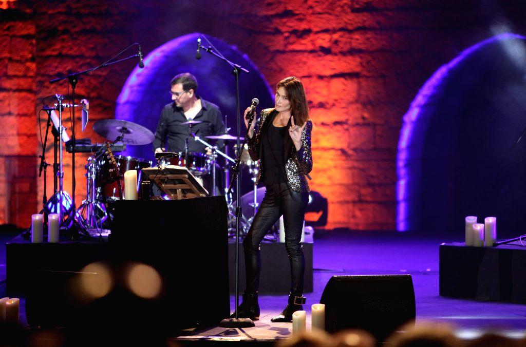 BEIRUT, July 30, 2018 - Singer Carla Bruni-Sarkozy (R), the former French First Lady, performs at the Beiteddine Art Festival near Beirut, Lebanon, on July 30, 2018. Carla Bruni-Sarkozy performed her ...
