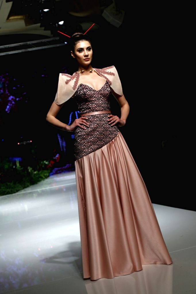 """BEIRUT, March 22, 2018 - A model presents a creation of Lebanese designer Laila Buhamdan during the show """"Designers & Brands Event"""" in Beirut, capital of Lebanon, on March 22, 2018. ..."""