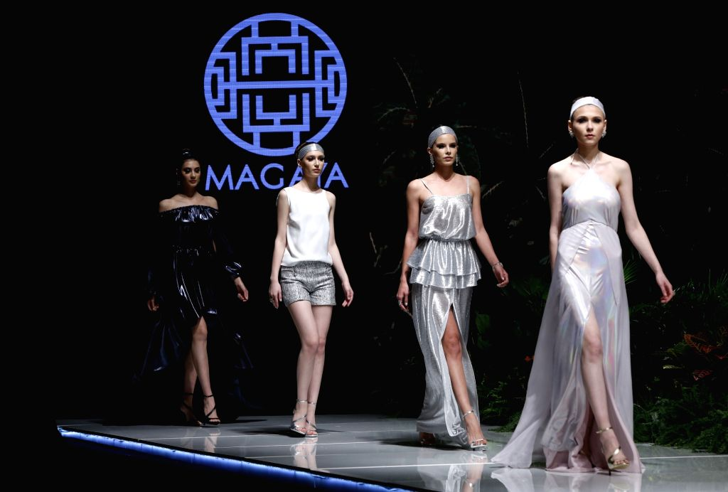 """BEIRUT, March 22, 2018 - Models present creations of Lebanese designer Magaya during the show """"Designers & Brands Event"""" in Beirut, capital of Lebanon, on March 22, 2018. ..."""