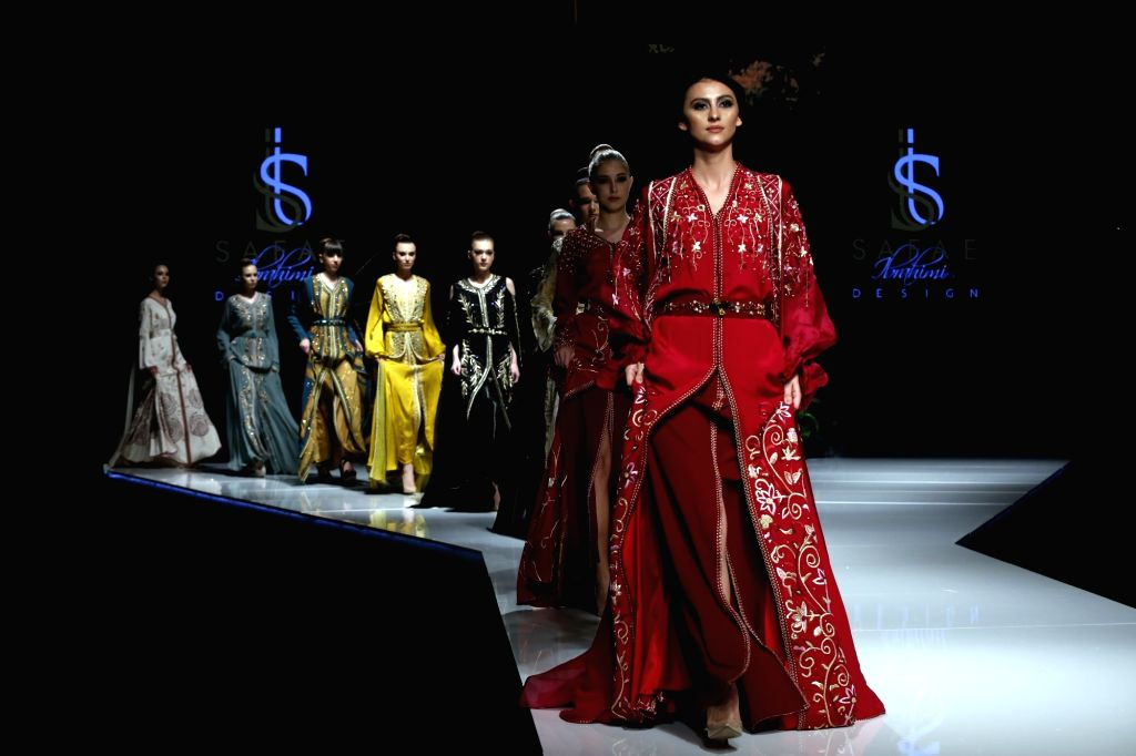 """BEIRUT, March 22, 2018 - Models present creations of Moroccan designer Safae Ibrahimi during the show """"Designers & Brands Event"""" in Beirut, capital of Lebanon, on March 22, 2018. ..."""