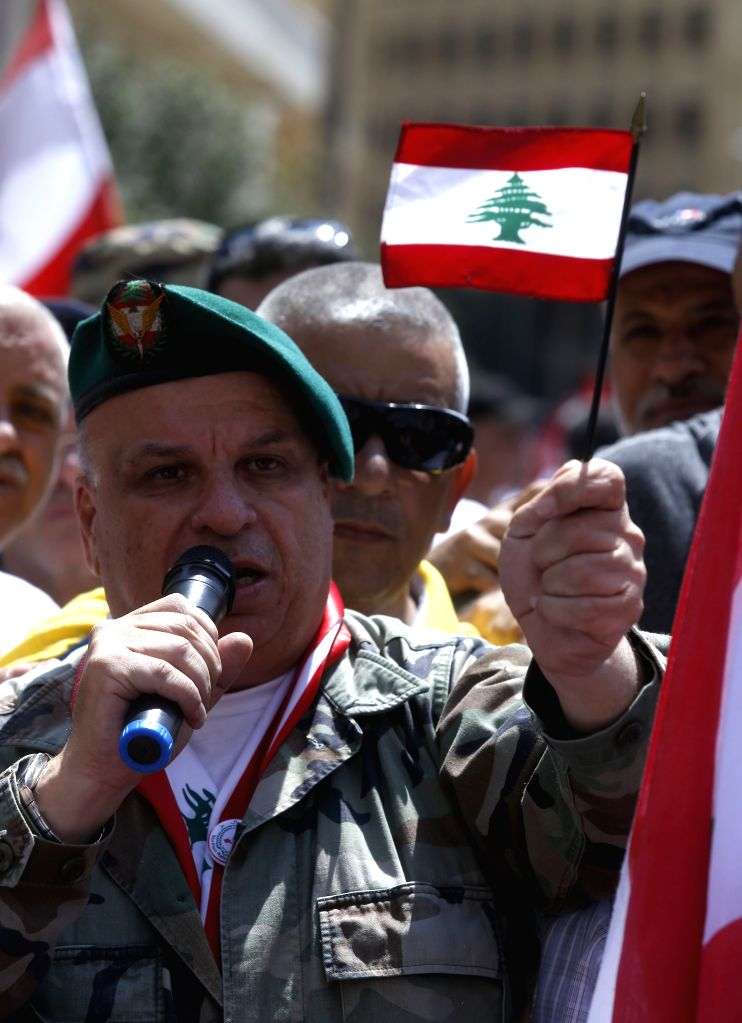 BEIRUT, May 10, 2019 - Lebanon's retired military and security officers protest against possible cuts on their retirement wages and benefits in the government's 2019 draft austerity budget in Beirut, ...