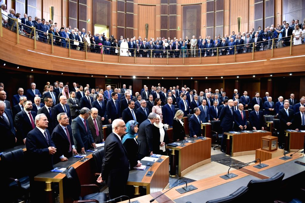 BEIRUT, May 23, 2018 - Lawmakers of the newly elected Lebanese parliament attend the parliament's first session in Beirut, Lebanon, on May 23, 2018. The newly elected Lebanese parliament convened ...