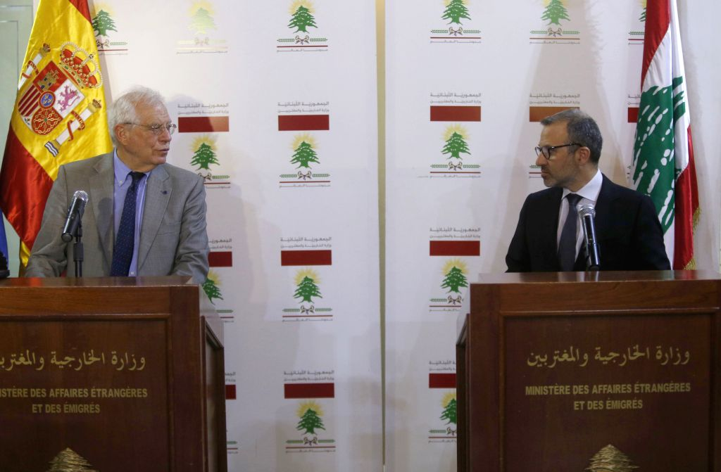 BEIRUT, May 3, 2019 - Lebanese Foreign Minister Gebran Bassil (R) and visiting Spanish Foreign Minister Josep Borrell Fontelles hold a press conference in Beirut, Lebanon, on May 3, 2019. Lebanese ... - Gebran Bassil