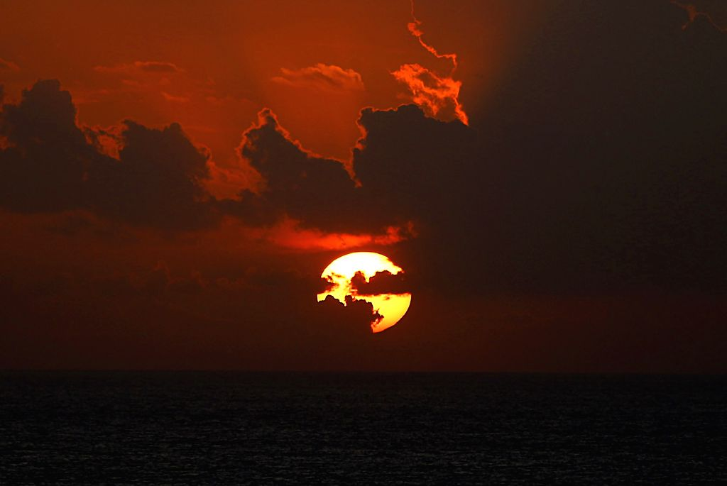 BEIRUT, Nov. 29, 2019 - The sunset is seen on the seashore of Beirut, Lebanon, on Nov. 28, 2019.
