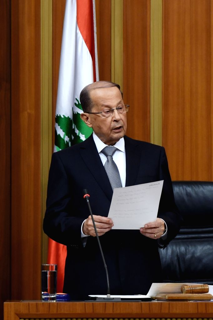 BEIRUT, Oct. 31, 2016 - Newly elected Lebanese President Michel Aoun takes an oath after he was elected at the Lebanese parliament in Beirut, Lebanon on Oct. 31, 2016. Former army chief Michel Aoun ...