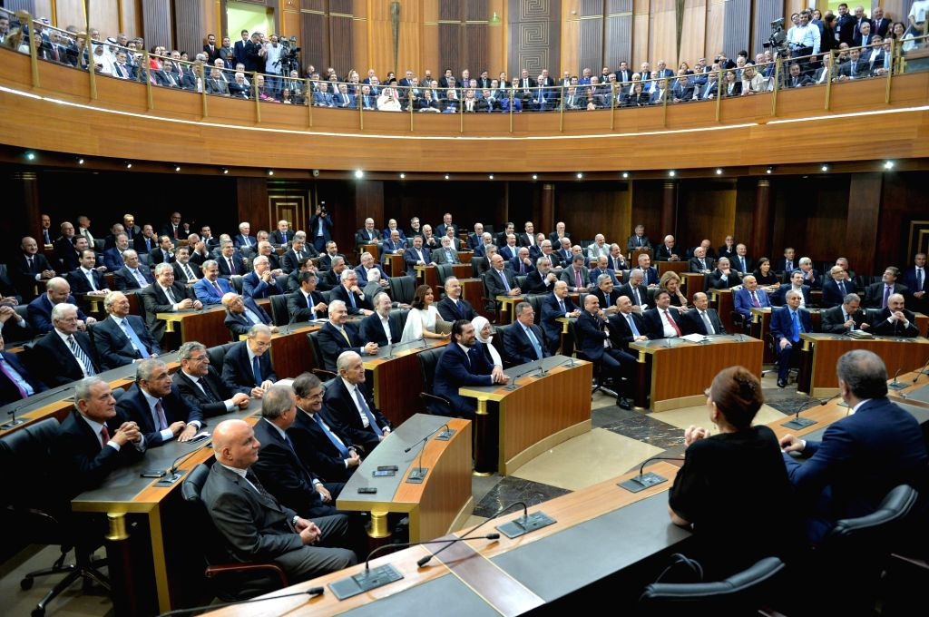 BEIRUT, Oct. 31, 2016 - Photo taken on Oct. 31, 2016 shows a parliment session to elect new president in Beirut, Lebanon. Former army chief Michel Aoun was sworn in as the 13th president of Lebanon ...