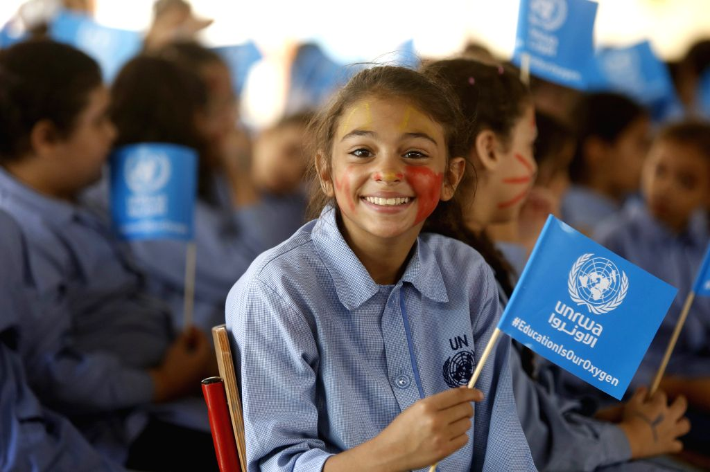 BEIRUT, Sept. 12, 2019 - Palestinian children attend an opening ceremony of new semester in the Yarmouk UNRWA School in Bourj Barajina in southern Beirut, Lebanon, Sept. 12, 2019.