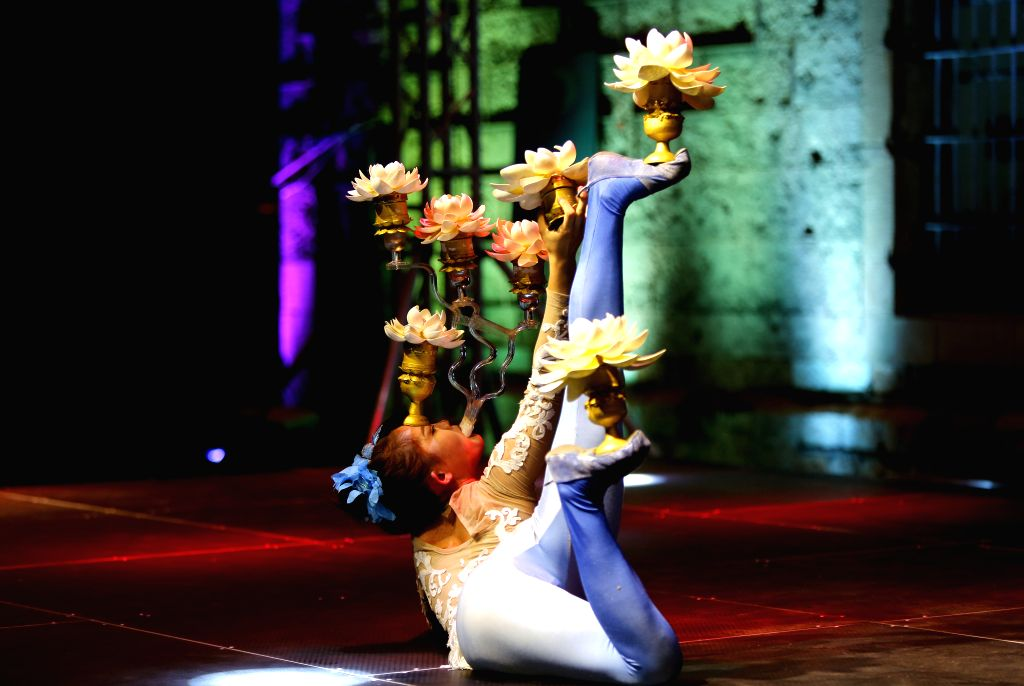 BEIRUT, Sept. 28, 2019 - A Chinese artist performs during a celebration in Beirut, Lebanon, on Sept. 28, 2019. Hundreds of Chinese art lovers on Saturday attended the celebration held at the old ...